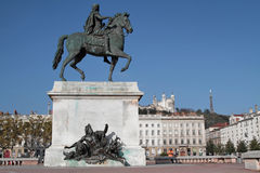 Place Bellecour in Lyon. LYON, FRANCE, OCTOBER 26, 2014 : Place Bellecour is the main place in Lyon city center. Together with its suburbs and satellite towns Royalty Free Stock Image