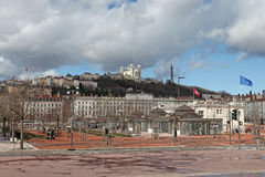 Place Bellecour, Lyon, France. Place Bellecour with view to Basilica Fourvierre in Lyon. France, March 2015 Stock Images