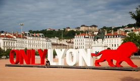 Place Bellecour -My New Life in France. The Place Bellecour is a large town square in Lyon, France -New Only lyon monument Royalty Free Stock Images