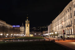 Place Bellecour by night. Place Bellecour in Lyon by night. France. February, 2015 Royalty Free Stock Photos