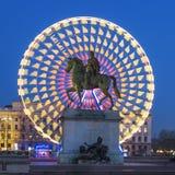 Place Bellecour statue of King Louis XIV, Lyon. France Stock Image