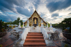Place a beloved old Buddhist Lanna.Wat Phra-singha temple great Royalty Free Stock Photos