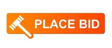 Place Bid Orange. Place Bid button with a ring or target simbol on white background Royalty Free Stock Images