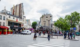 Place Blanche and Boulevard de Clichy, Pigalle .Paris Royalty Free Stock Photography