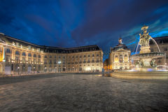 Place of the Bourse at dusk. Bordeaux (France Royalty Free Stock Image