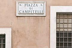 Place Campitelli de signal à Rome Photos stock