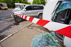 Place of car accident Royalty Free Stock Photos