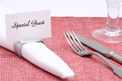 Place card. Special guest placed card on napkin ring,table set up Royalty Free Stock Photos
