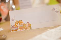 Place card for christening Royalty Free Stock Images