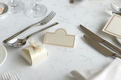 Place card on the festive table. Empty place card on the nice festive table Stock Photography