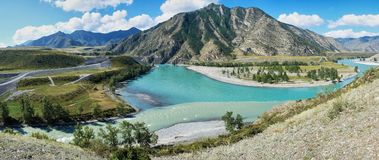 Place of the confluence of the rivers Katun and Chuya in Altai m Stock Images