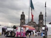 """The place of the Constitution """"Zócalo"""" – Ciudad de Mexico - Mexico. The place of the Constitution in Spanish, Plaza de la Constitución stock photography"""