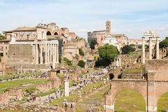 People walking in the Roman Forum, Rome, Italy royalty free stock photography