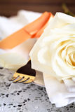 Place Cover with a Rose Royalty Free Stock Photo