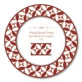 Place croisée ronde rouge du cadre 226 ronds de vintage rétros Photos libres de droits