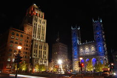 Place d'Armes, Montreal. Night scene of Place d'Armes and Notre-Dame Basilica of Montreal, Canada Royalty Free Stock Photo