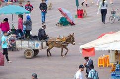 Place d'EL Fna de Djemaa, Marrakech Images libres de droits
