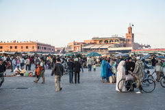 Place d'EL-Fnaa de Jemaa à Marrakech Photos libres de droits
