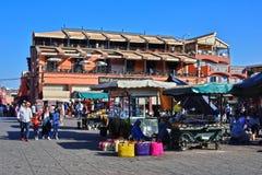 Place d'EL-Fnaa de Jemaa en Médina de Marrakech, Maroc Photos libres de droits