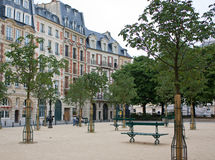 Place Dauphine, Paris. The calm and peaceful Place Dauphine (the Dauphin Square, founded in 1607) at Ile de la Cite, the historic centre of Paris, France Royalty Free Stock Images