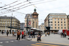 Place de贝莱尔,日内瓦,瑞士 免版税图库摄影