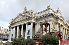 Place de bourse dans Noël à Bruxelles Photographie stock