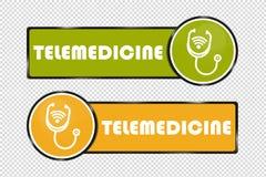 Place de boutons de télémédecine et cercle - illustration de vecteur - d'isolement sur le fond transparent illustration stock