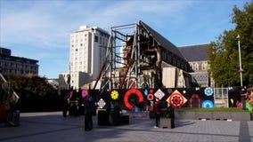 Place de cathédrale de Christchurch banque de vidéos