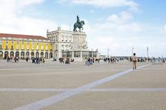 Place de commerce à Lisbonne, Portugal Photographie stock libre de droits