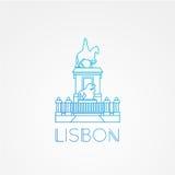 Place de commerce avec la statue du Roi Jose I - le symbole de Lisbonne Portugal illustration libre de droits