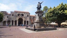 Place de deux points de parc, et cathédrale de Santo Domingo, Photographie stock