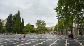 Place de fontaines dans la ville de Bakou Photos stock