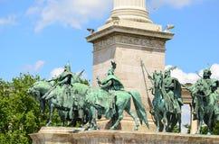 Place de héros - Budapest, Hongrie Images libres de droits