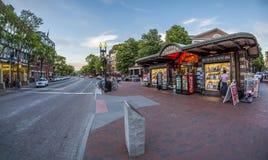 Place de Harvard à Cambridge, mA, Etats-Unis Photos stock