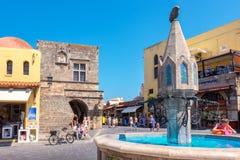Place de Hippocrate Rhodes, Grèce Photographie stock libre de droits