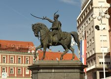 Place de Jelacic d'interdiction à Zagreb, Croatie photos stock