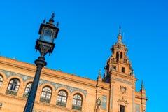 Place de l'Espagne en Séville, Andalousie, Espagne Photographie stock libre de droits