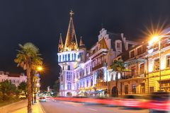 Place de l'Europe pendant l'heure bleue, Batumi, la Géorgie Photographie stock libre de droits