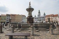Place de l'otakara II de PÅ™emysla en République Tchèque l'Europe de Ceske Budejovice Photographie stock libre de droits