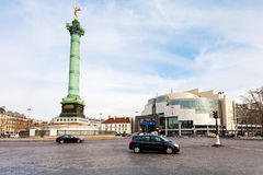 Place de la Bastille在巴黎 图库摄影