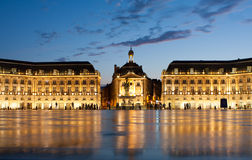 Place de la Bourse in Bordeaux. Place de la Bourse in the city of Bordeaux, France with reflection from water fountain royalty free stock photos