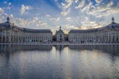 Place de la Bourse in Bordeaux. Bordeaux, France; 09 04 2014: Place de la Bourse in Bordeaux, at sunset in the water mirror France Royalty Free Stock Photo