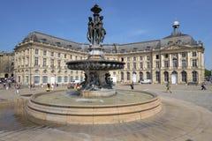 Place de la Bourse in Bordeaux, France stock image
