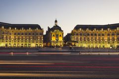 Place de la bourse in Bordeaux at night in France stock photos