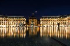 Place de la Bourse en la ciudad de Burdeos, Francia Fotos de archivo libres de regalías