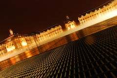 Place de la Bourse at night with the Miroir d'eau Royalty Free Stock Image