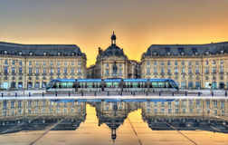 Place de la Bourse reflecting from the water mirror in Bordeaux, France Stock Photo