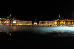 Place de la Bourse with smoke and water mirror Royalty Free Stock Image