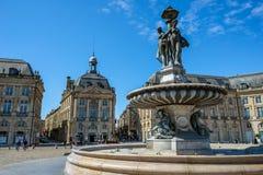 Place de la Bourse square in Bordeaux, France Stock Photos