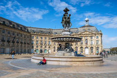 Place de la Bourse square in Bordeaux, France Royalty Free Stock Photo
